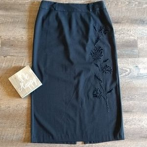 {fancy}Venezia Jeans Co. Embroidered Black Skirt